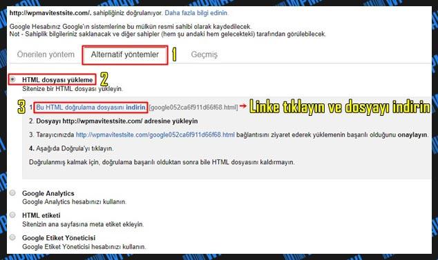 Google Site / Blog Kaydı HTML Etiketi