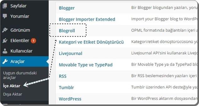 Blogroll linklerini içe aktarma - wordpress.com'dan kendiliğinden barınan wordpress'e geçiş