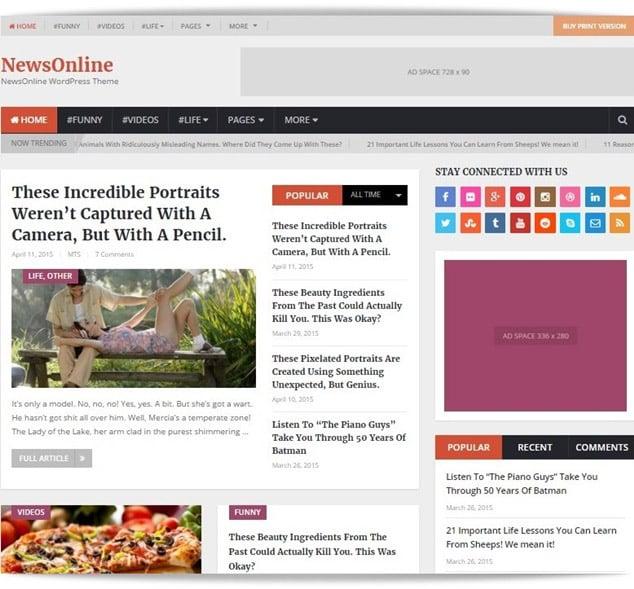 en iyi wordpress temaları - WordPress haber teması newsonline