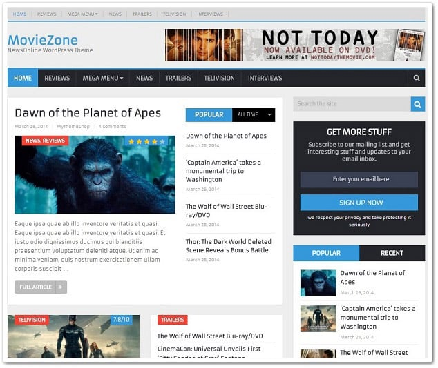 Wordpress Video temaları - moviezone video teması