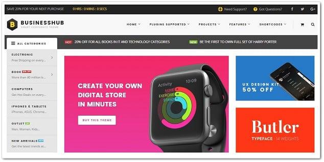 Wordpress Alışveriş sitesi temasi businesshub