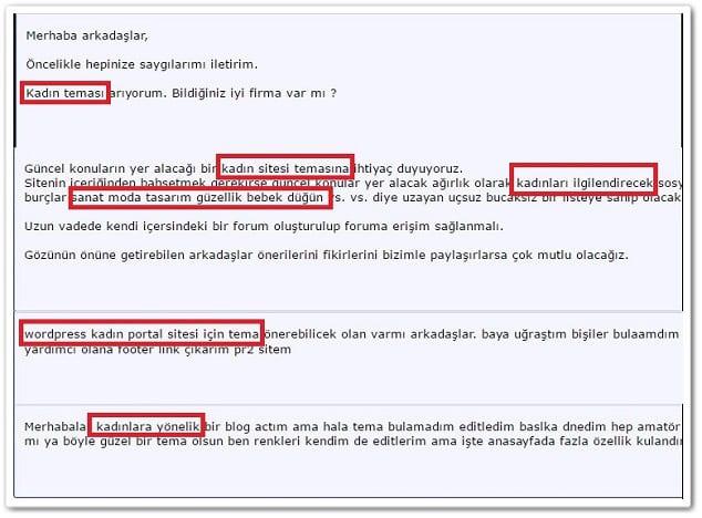 anahtar kelime bulma forum analizi