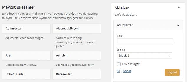 Wordpress Yan Panele Reklam Ekleme