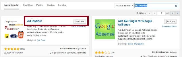Wordpress Adsene Eklentisi - Ad Inserter