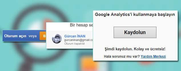 Google analytics Kayıt Olma