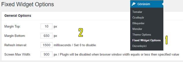 Wordpress yan panel bileşen sabitleme eklentisi