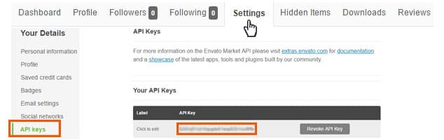 Themeforest API Key Alma