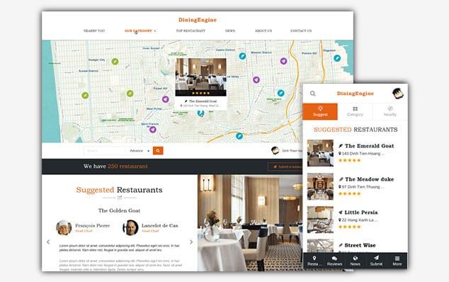 DiningEngine - (WordPress İlan Teması)