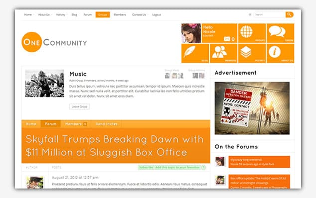 OneCommunity - (WordPress Forum Teması)