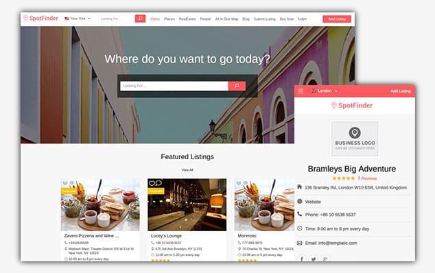 SpotFinder - (WordPress İlan Teması)