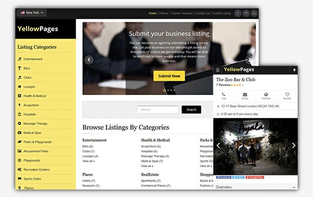 YellowPages - (WordPress İlan Teması)