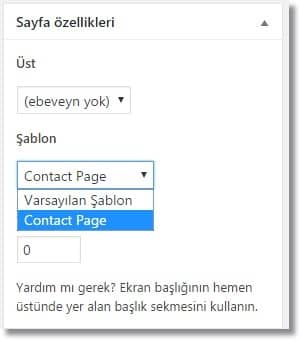 Wordpress İletişim Formu Ekleme - Sayfa Özellikleri