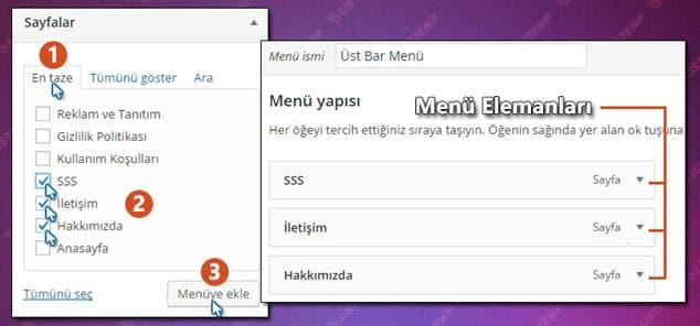 Wordpress Menü Oluşturma - 2