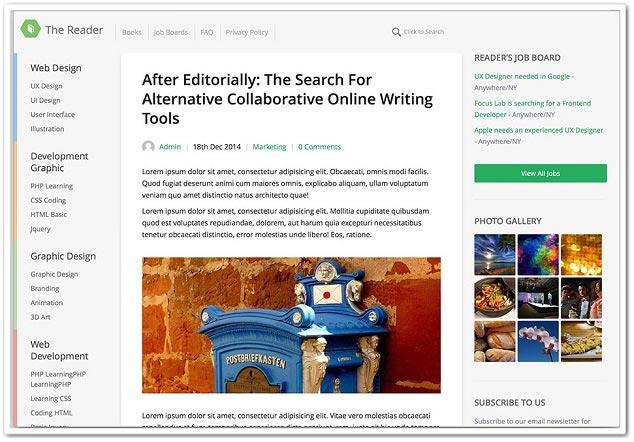 Wordpress Blog Teması - WordPress Blog Temaları -Reader