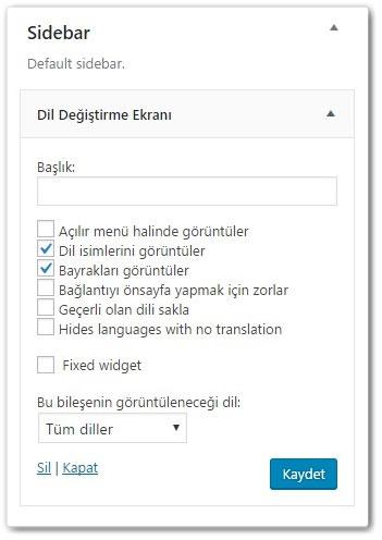 Wordpress Çoklu Dil Değişim Ekranı
