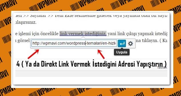 Wordpress Yazıya Link Ekleme