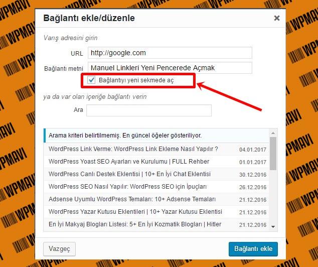Wordpress Linkleri Manuel Olarak Yeni Sayfada Açma