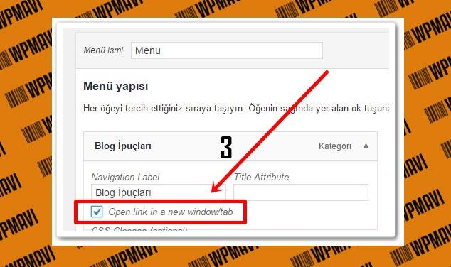 Wordpress Menü Linklerini Yeni Sayfada Açma