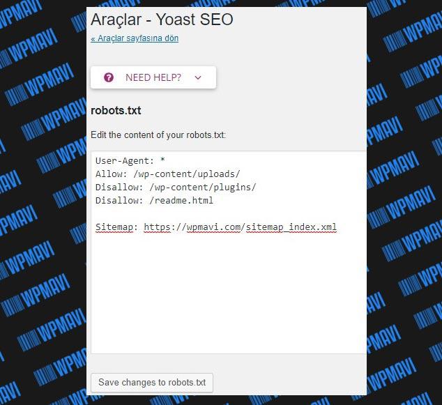 Yoast SEO Ayarları Robots.txt Dosyayı Oluşturma