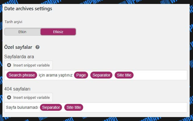 Yoast SEO Ayarları Search Appearance Date Archives