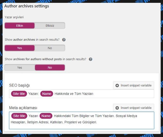 Yoast SEO Ayarları Search Appearance Arşivler (Etkin)