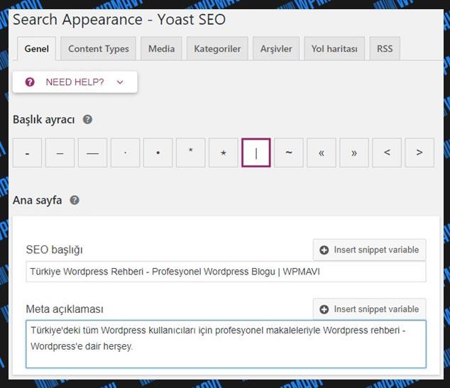 Yoast SEO Ayarları Search Appearance Genel Başlık Başlık Ayracı ve Ana Sayfa Ayarları