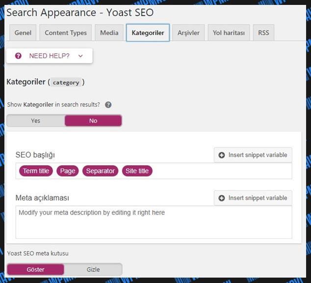 Yoast SEO Ayarları Search Appearance Kategoriler
