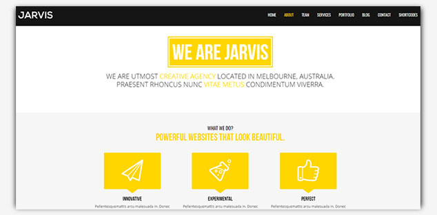 Jarvis - WordPress Tek Sayfa Tema