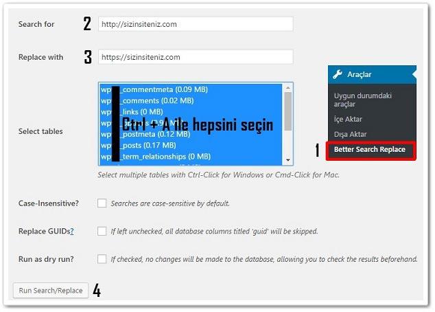 Wordpress SSL Kurulumu - Veritabanı Değişikliği