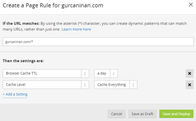 CloudFlare Fastest Cache Ayarları - Page Rules/3