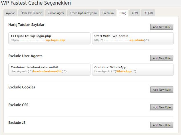 Fastest Cache Premium Ayarları - Hariç