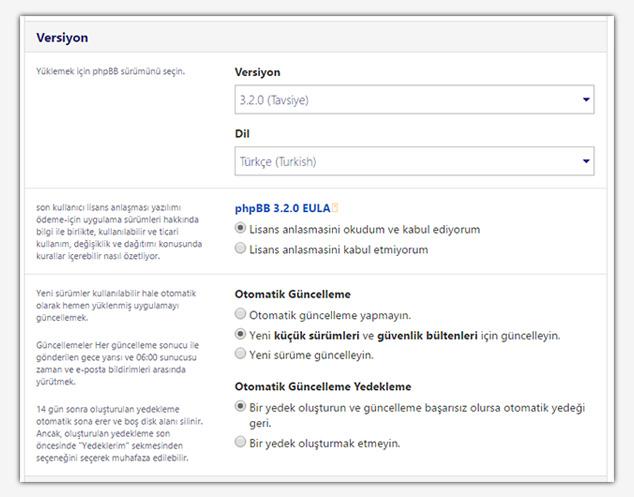 Forum Sitesi Açma - Versiyon Ayarları