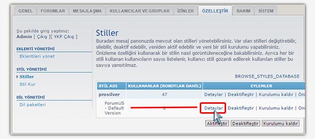 Forum Sitesi Kurma - phpBB Stil Aktif Etme 1