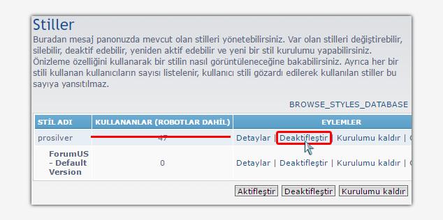 Forum Sitesi Kurma - phpBB Stil Aktif Etme 2