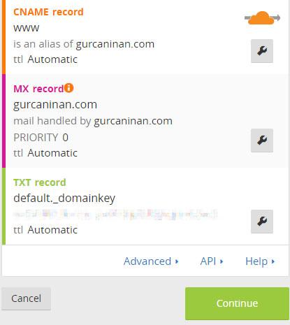 WordPress CloudFlare Kurulumu - DNS Kayıtları