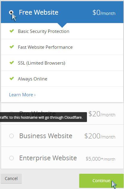 WordPress CloudFlare Kurulumu - Plan Seçimi