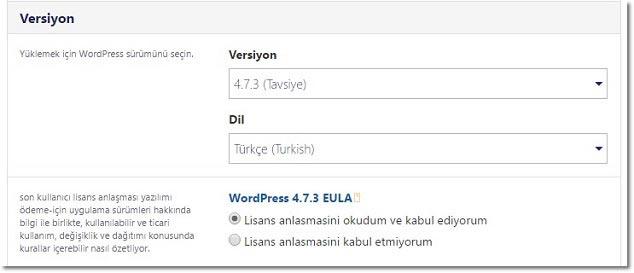 Wordpress Nasıl Kurulur - WP Versiyon Seçimi