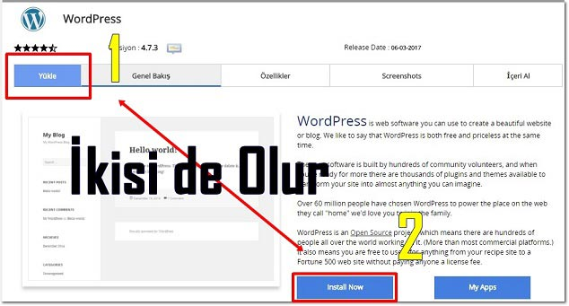 Wordpress Kurulumu Ekranı