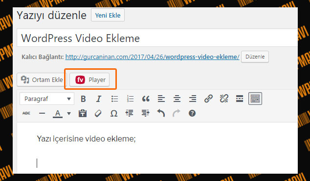 WordPress Video Ekleme Butonu