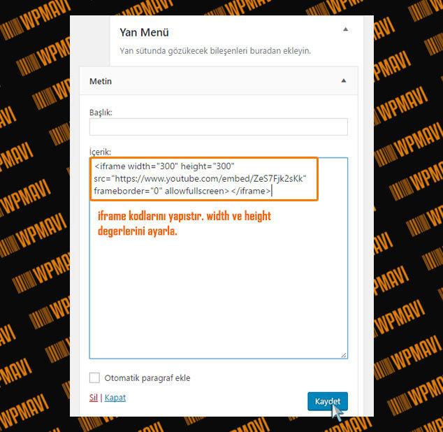 WordPress Video Ekleme - iFrame Kodları