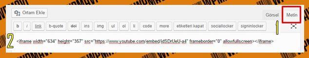 Wordpress Video Ekleme - iFrame Olarak Metin Editörü