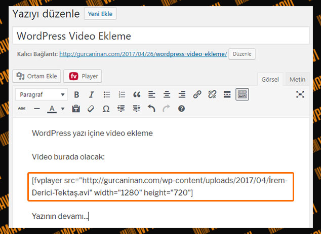 WordPress Video Ekleme - Video Kodları