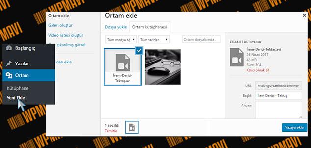 WordPress Video Yükleme - Ortam Ekleme