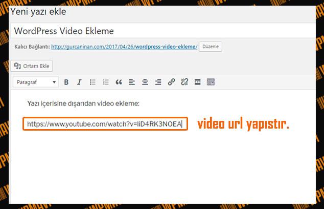 WordPress Video Ekleme - Video Linki Yapıştırma
