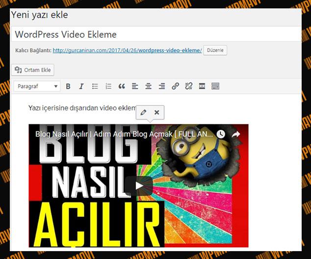 WordPress Video Ekleme - Video Önizleme