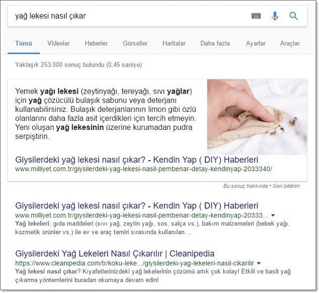 Yağ Lekesi Nasıl Çıkar - Google Aratma Sonucu