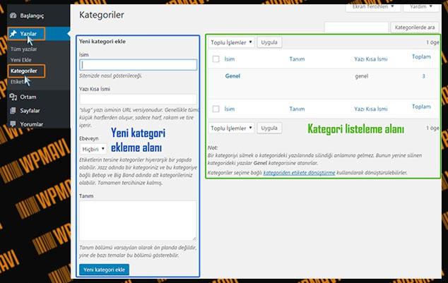 WordPress Kategori Ekleme - Admin Panel Kategori Ekleme ve Düzenleme Sayfası