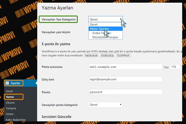WordPress Kategori Ekleme - Varsayılan Kategori Belirleme