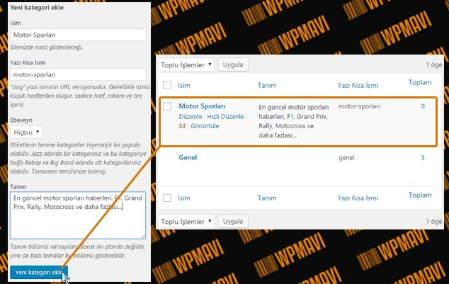 WordPress Kategori Ekleme - Yeni Kategori Oluşturma