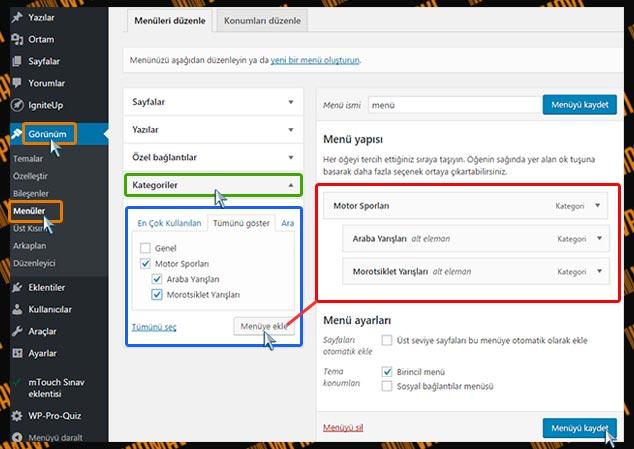 WordPress Menüye Kategori Ekleme